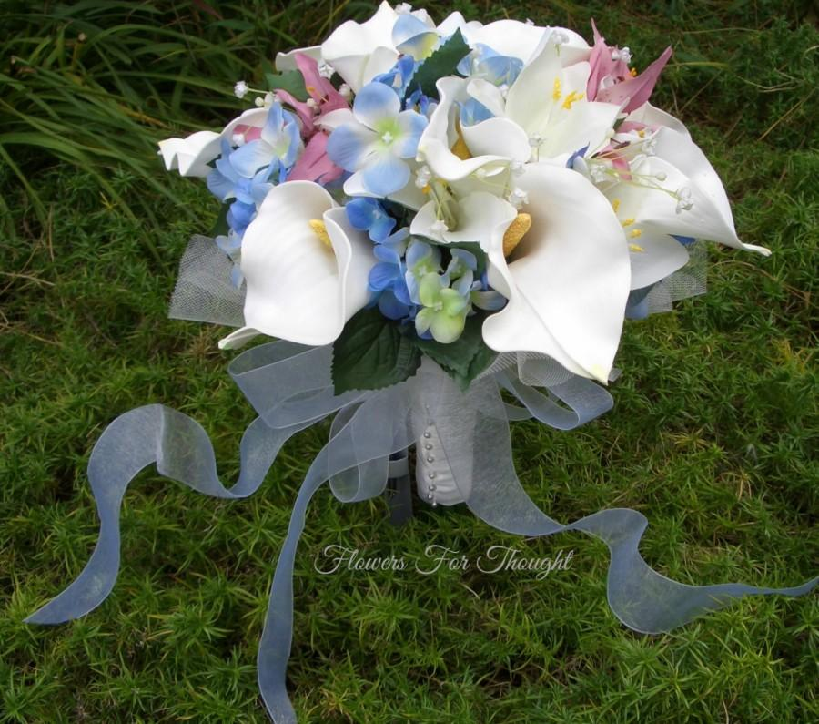 White Calla Lily And Blue Hydrangea Bridal Bouquet, Wedding Flowers ...