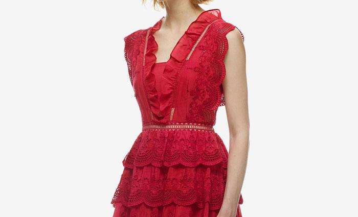 Hochzeit - Self Portrait Three Tiered Peplum Lace Dress Red