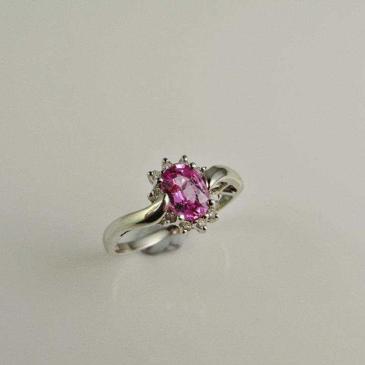Mariage - Pink Sapphire Engagement Ring Padparadscha Pink Peach Sapphire Engagement Ring Cluster Engagement Ring 1960s Engagement Cocktail Ring 14K