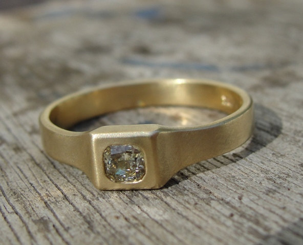 Mariage - Engagement Ring - Gold and Diamond Engagement Ring - 18k Gold Ring - Diamond Ring -  Gold Engagement Ring