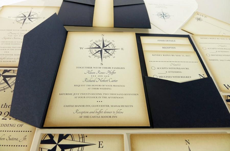 Vintage Compass Wedding Invitation, Navy Blue Nautical Blue ...