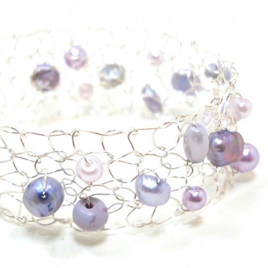 Mariage - Amethyst Bracelet Dainty Bracelet Delicate Bracelets Skinny Cuff Bracelet February Birthstone Pearl Bracelet Bridesmaid Jewelry Gift for her