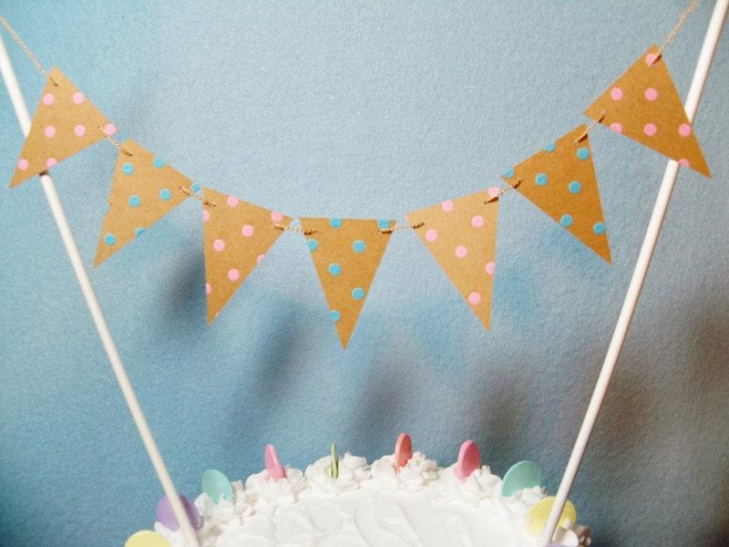 Mariage - Cake Topper Garland, Rustic Wedding, Dots Pink Blue Bunting, Gender Reveal, Baby Shower Banner
