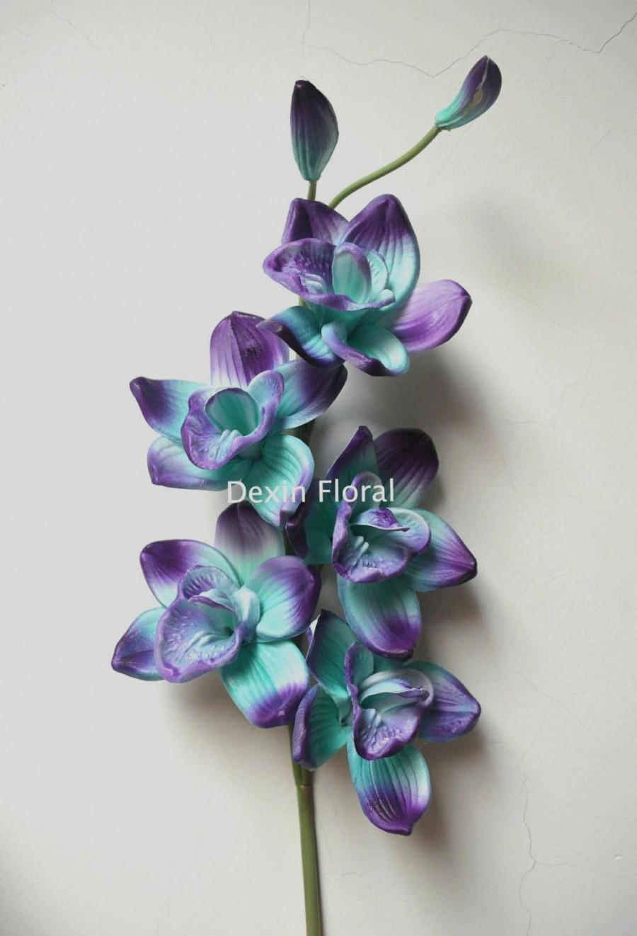 Turquoise Purple Cymbidium Orchids Real Touch Flowers ...