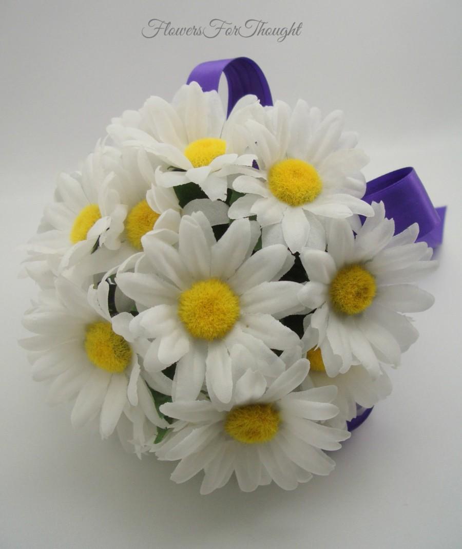 Свадьба - White Shasta Daisy Wedding Bouquet, Marguerites Flower Posy, Bridesmaid Gift and Decoration