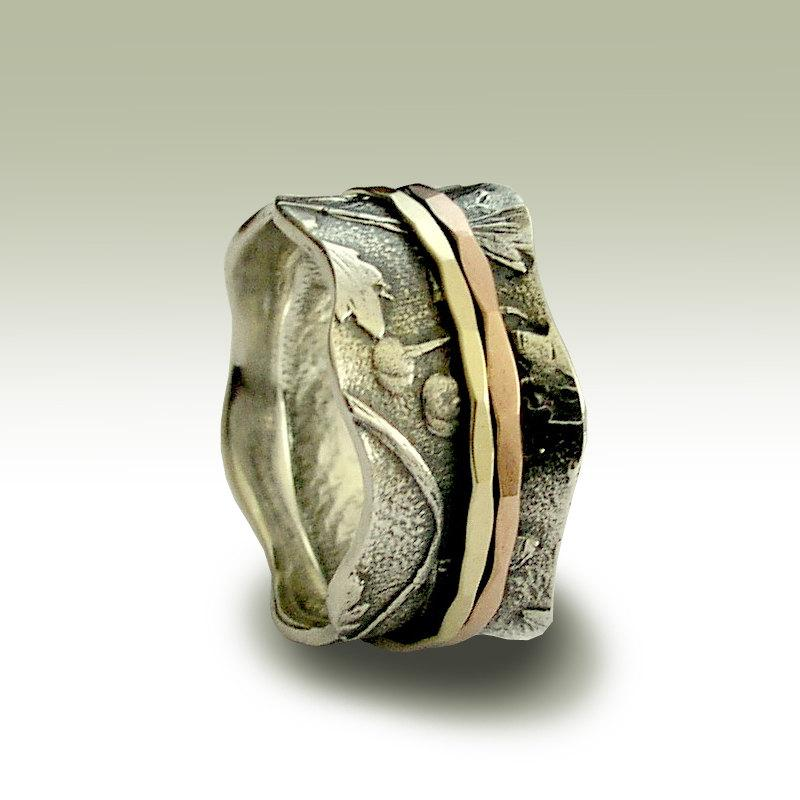 Mariage - Wedding Band, Sterling Silver Band, Botanical Stacking Ring, Yellow Gold Rose Gold Spinners, Spinner Ring, Two Tone Band - Breathe R1737A
