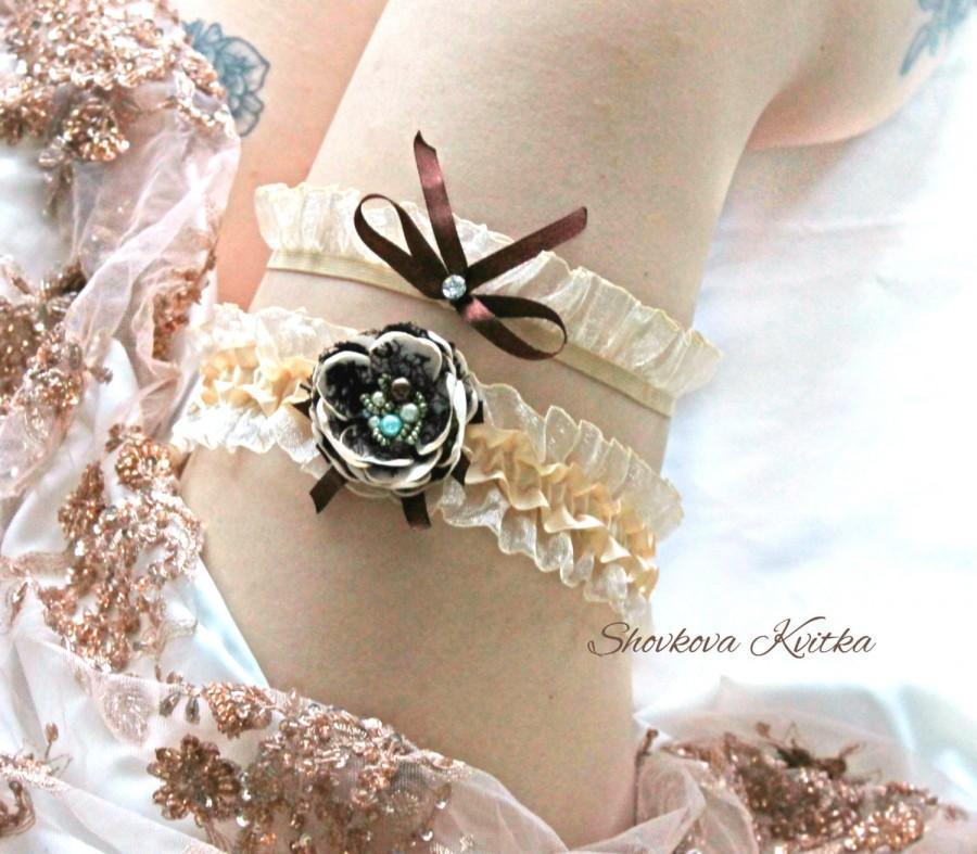 Mariage - Champagne flower Garter, Brown Champagne set Bridal Garter, Toss Garter, Champagne organza Garter