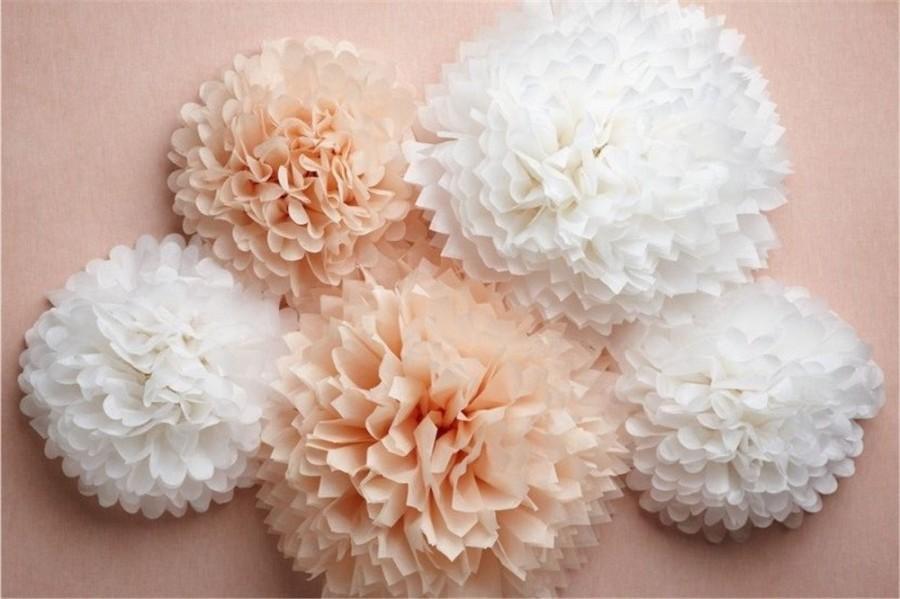 Mariage - paper Pompom 21, tissue paper, flower balls, wedding decoration, party, events, decoration, pom pom, baby showe