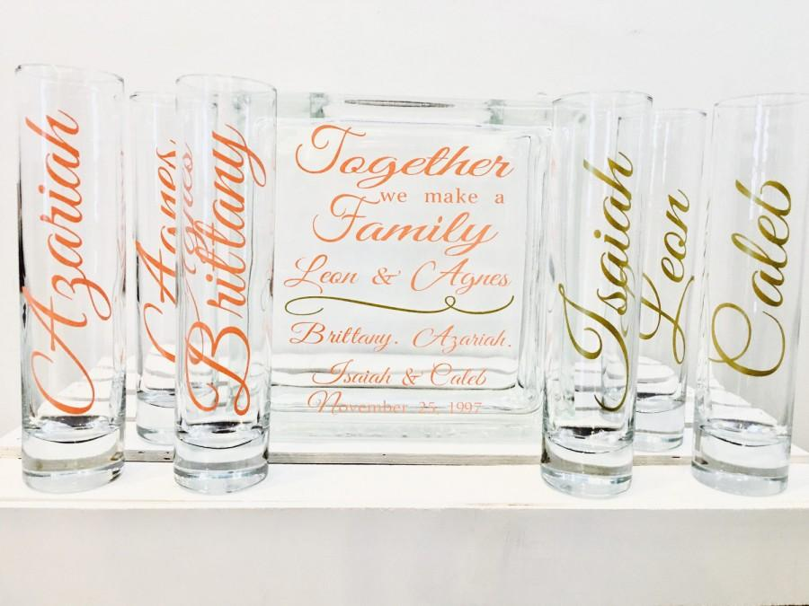 Wedding - Family Blended Unity Sand Ceremony Glass Containers - Glass Block with Together we make a Family - Personalized - Side vessels - Coral Gold