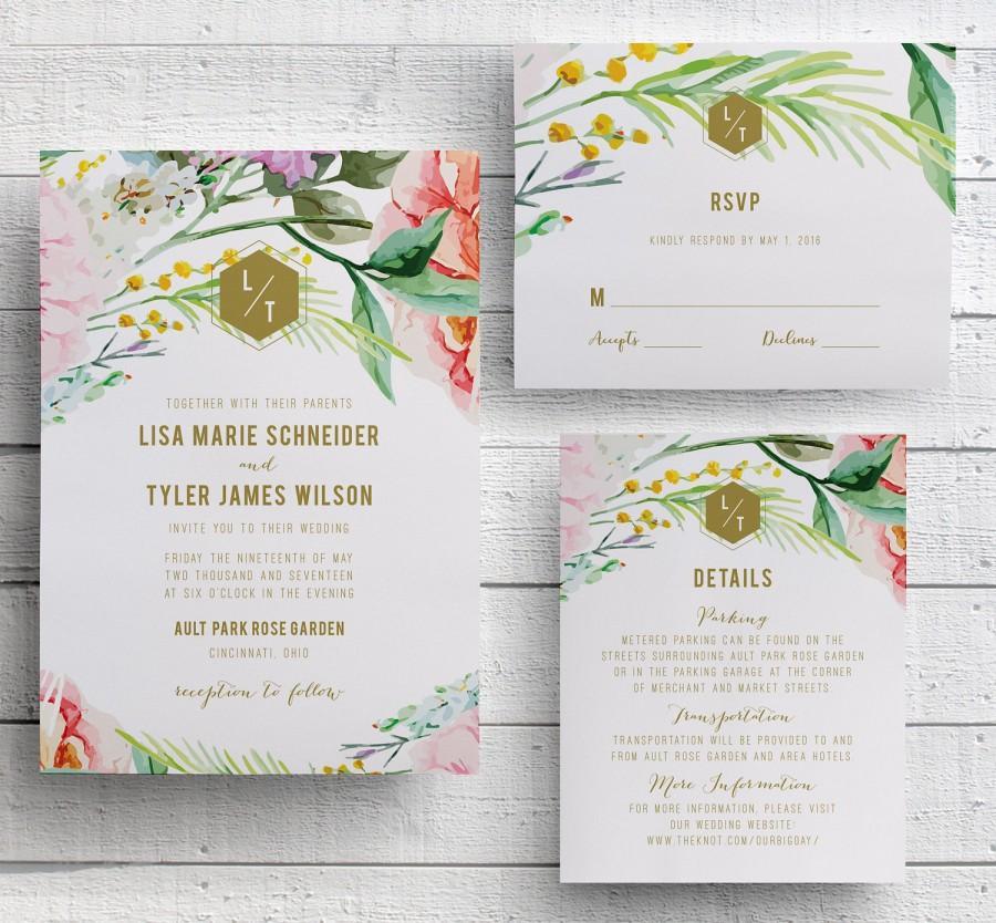 spring floral wedding invitation garden floral botanical garden