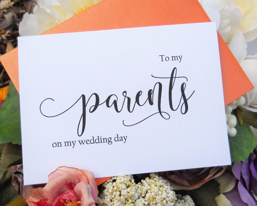Hochzeit - TO MY PARENTS on my Wedding Day Card, Shimmer Envelope, Wedding Note Card, To My Mother Card, To My Father Card, Wedding Stationery