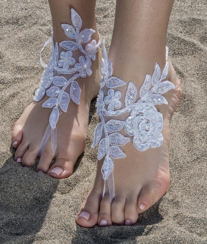 Свадьба - White Lace Barefoot Sandals Beach wedding Barefoot Sandals Lace Barefoot Sandals, Bridal Lace Shoes Foot Jewelry Bridesmaid Sandals, Anklet - $29.90 USD