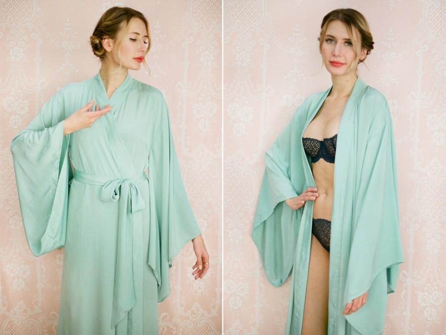 "Mariage - CELADON. One custom ""Noguchi"" kimono robe in grey faux silk crepe. Long kimono robe Bridal robe Long silk lingerie with pockets Gift for her"