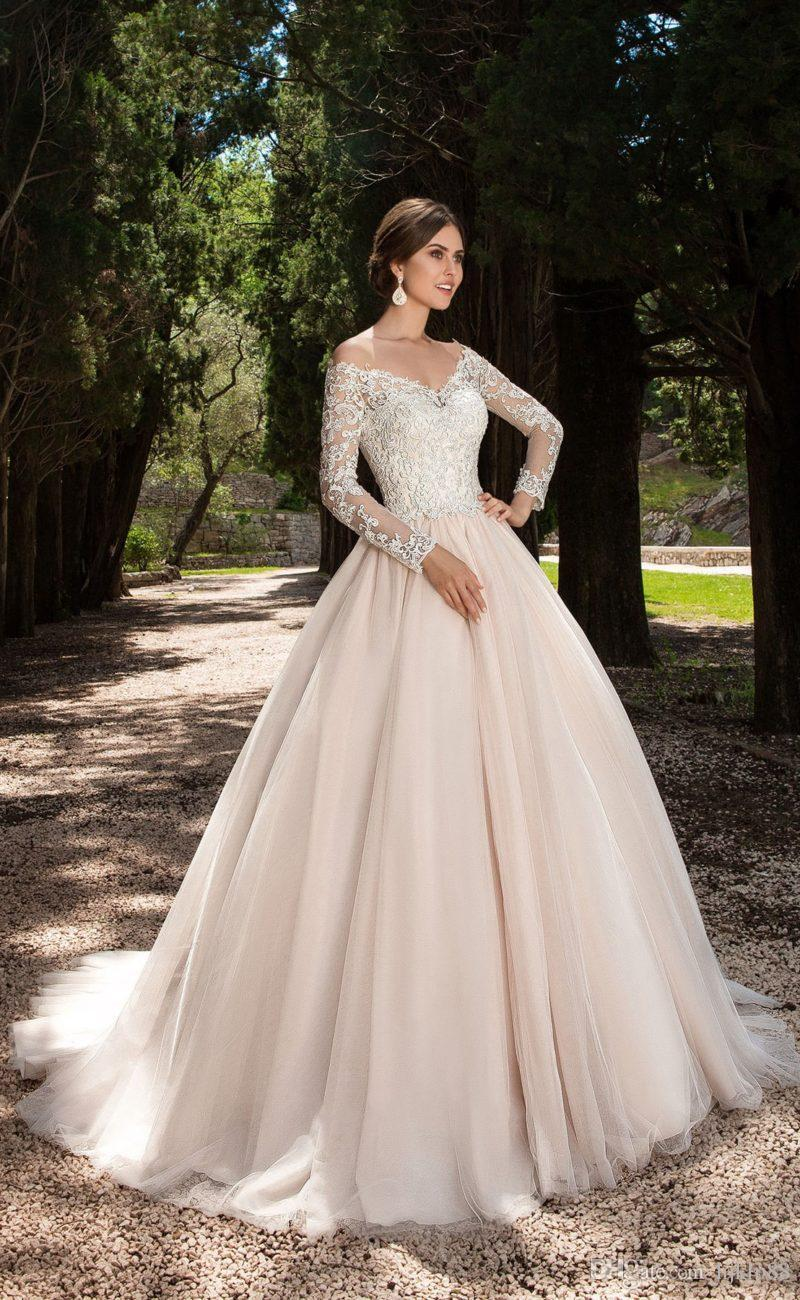 2017 new arrival illusion lace long sleeve v neck a line for A line tulle wedding dress