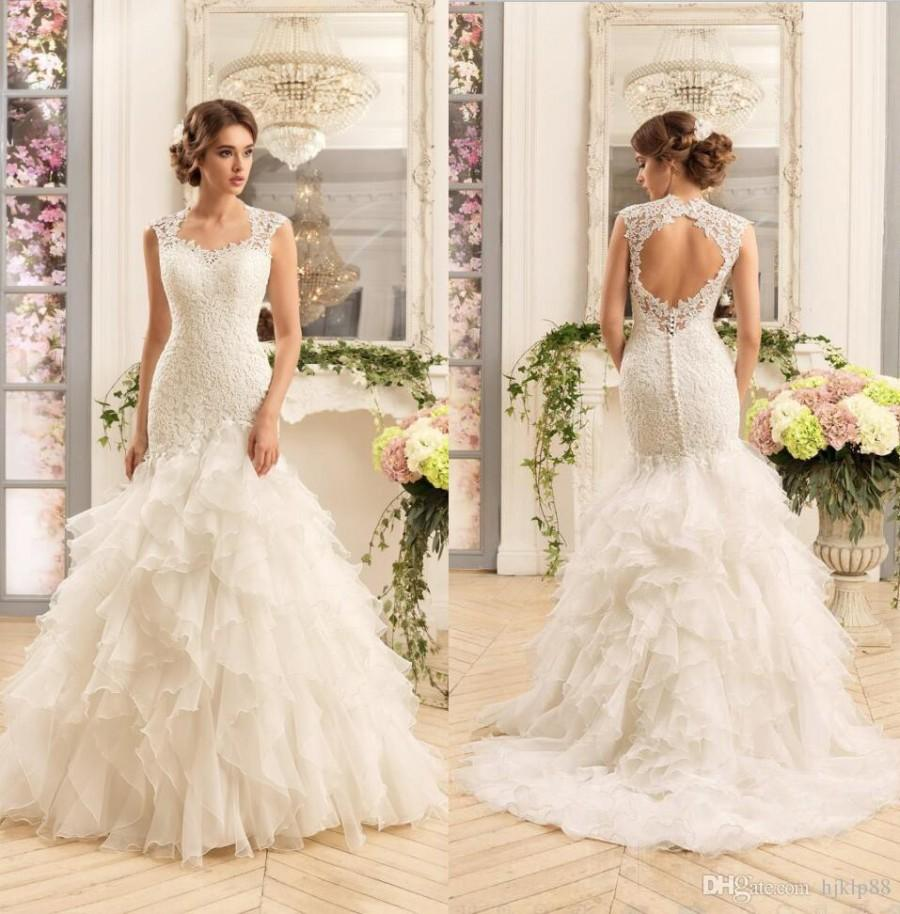 2017 New Gorgeous Lace Mermaid Wedding Dresses Cascading Ruffles ...