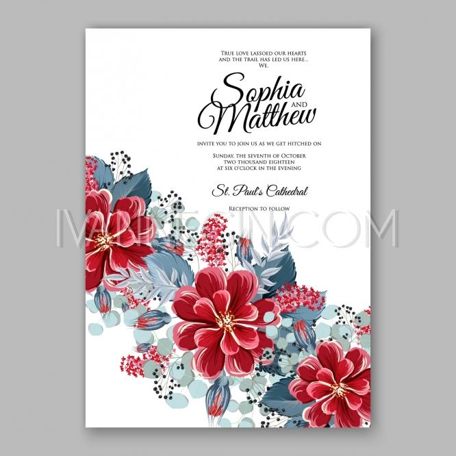 soft red dahlia wedding invitation card printable template with mint greenery burgundy zinnia mentho unique vector illustrations christmas cards - Mint Christmas Cards