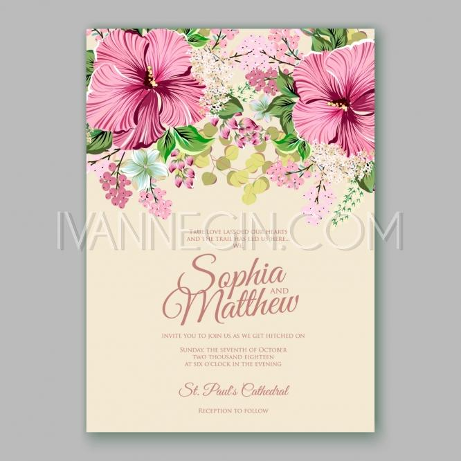 Hibiscus Wedding Invitation Card Template Unique Vector