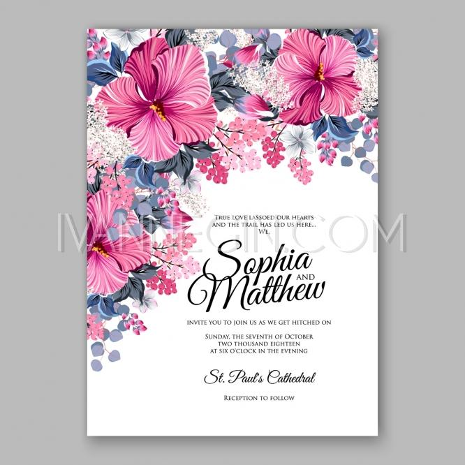 Hibiscus Wedding Invitation Card Template