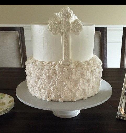 Свадьба - Cross cake topper, Christening cake topper, edible fondant large Cross baptism confirmation Holy Spirit first communion baptismal shimmering