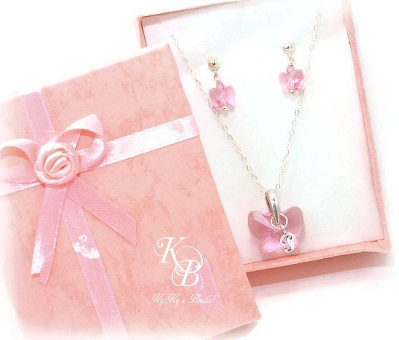 Wedding - Flower Girl Jewelry Set, Personalized Flower Girl Jewelry, Flower Girl Gift, Butterfly Jewelry, Butterfly Necklace and Earring Set