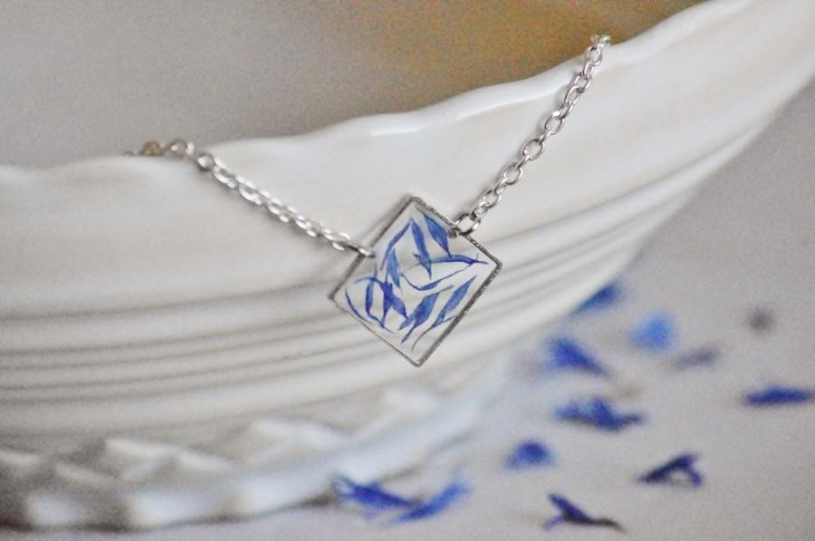 Pressed Blue Flower Jewelry Pendant