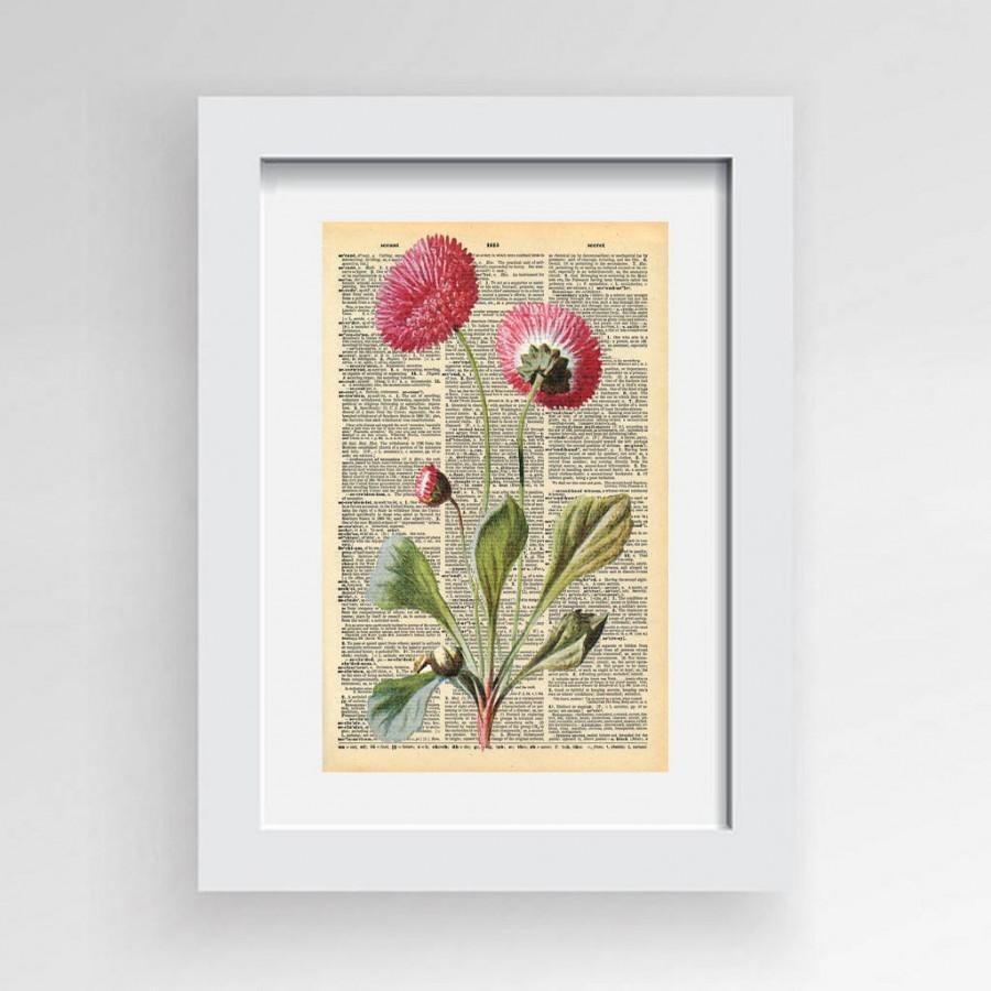 pink daisy print,printable art,daisy flower, daisy print, vintage