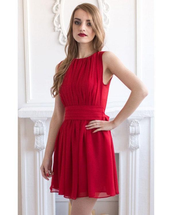 Свадьба - Short Red Bridesmaid Dress Red Chiffon Sleeveless Evening Dress Red Wedding Dress Cheap