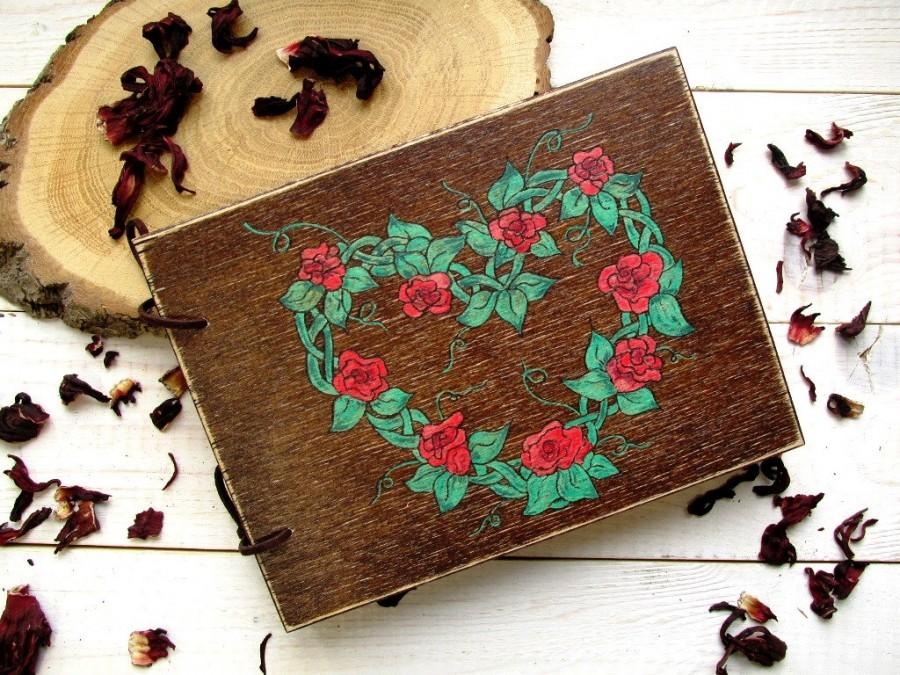 Wedding - Wedding Guest Book, Rustic Wedding, Wooden book with an engraving handmade, Unusual gift from wood, Red flowers