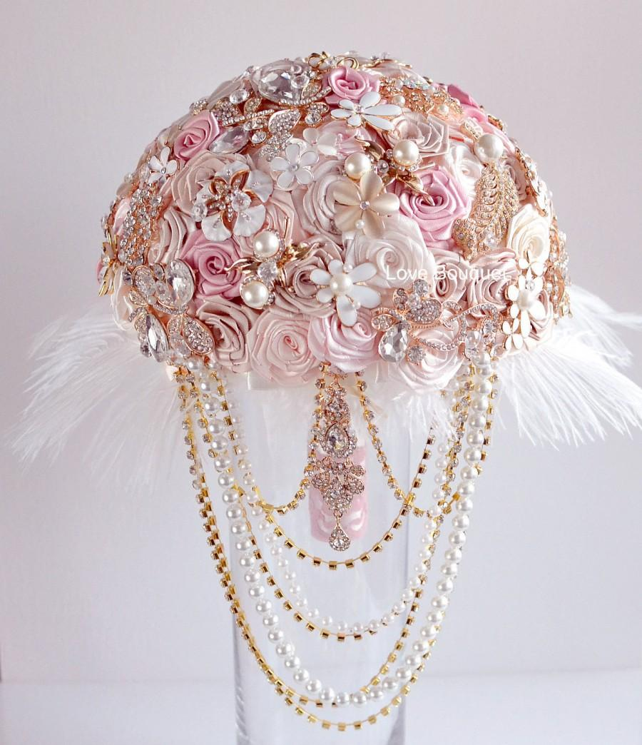 Crystal Wedding Bouquet Brooch Dress Jewelry Bridal Feathers Rose Gold Pink