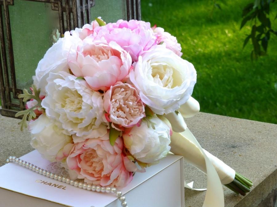 blush pink peony wedding bouquet pink perfection wedding bouquet silk peony wedding bouquet peony and garden roses bridal bouquet - Garden Rose And Peony