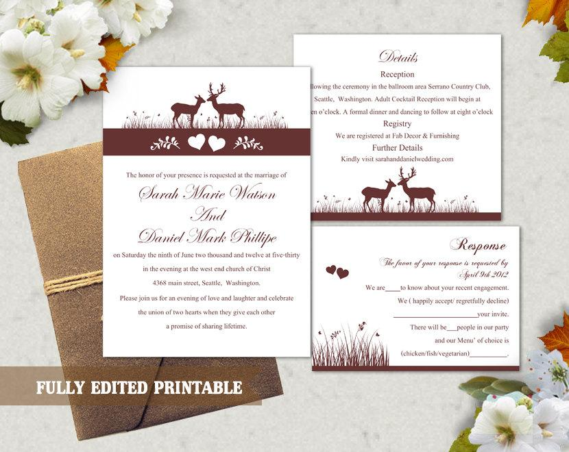 Mariage - Printable Wedding Invitation Suite Printable Invitation Elegant Wine Red Wedding Invite Reindeer Invitation Download Invitation Edited PDF - $13.00 USD