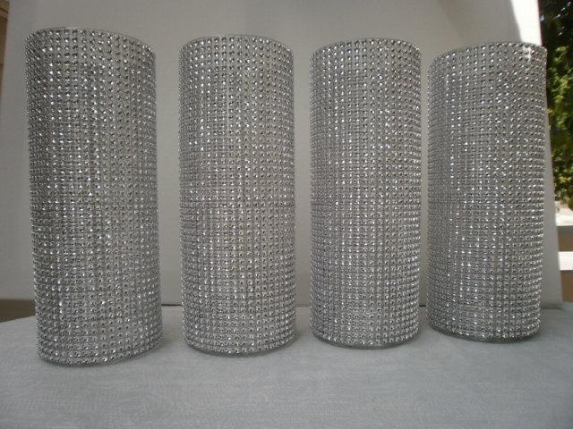 "Свадьба - Set of (10)  10 1/2 "" tall  Cylinder  Rhinestone Centerpiece Vase  Bouquet Vases Centerpiece  Rhinestone Vases Wedding Bouquet Vase"