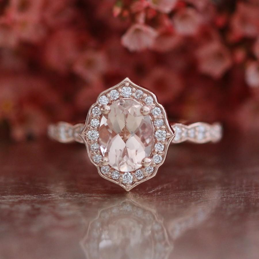 Mariage - Vintage Floral Oval Morganite Engagement Ring in 14k Rose Gold Scalloped Diamond Wedding Band 8x6mm Oval Cut Gemstone Anniversary Ring