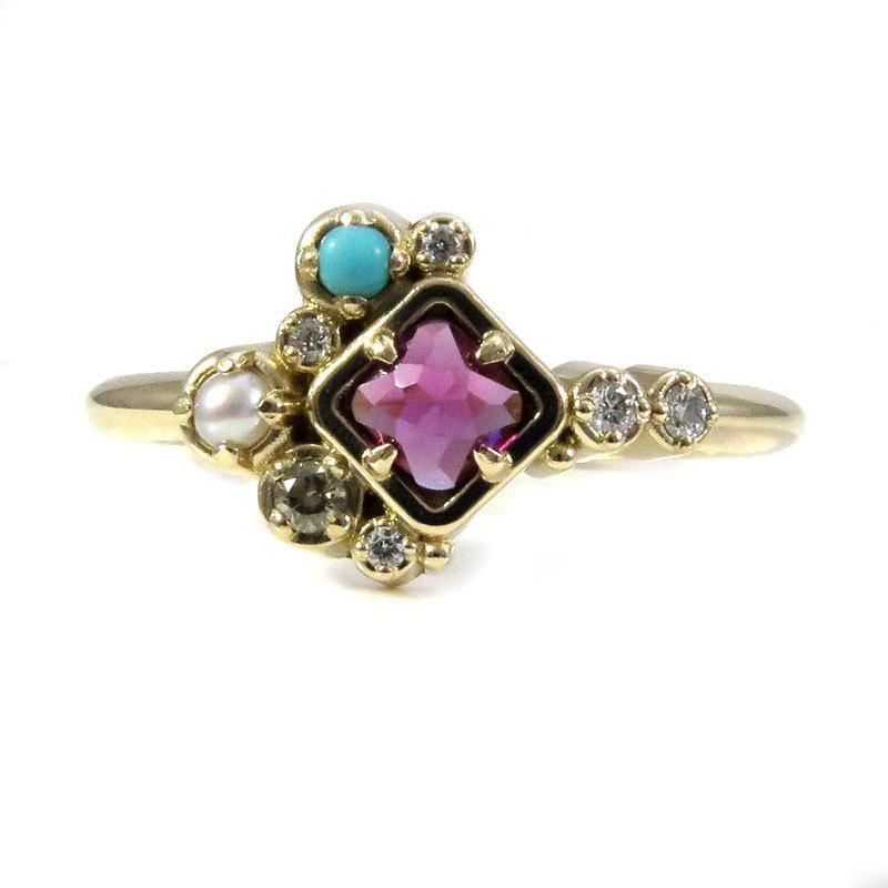 Wedding - Rhodolite Garnet, Turquoise and Pearl Cluster Ring with Champagne and White Diamonds - 14k Yellow Gold