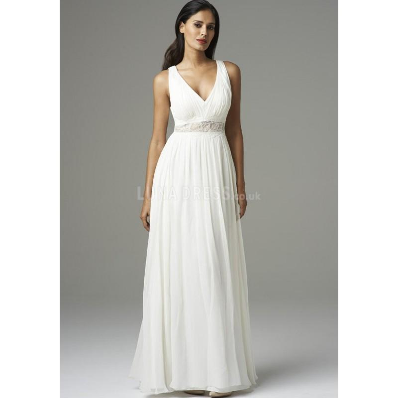 Boda - Simple V Neck Chiffon A line Sleeveless Floor Length Evening Dress With Pleats - Compelling Wedding Dresses