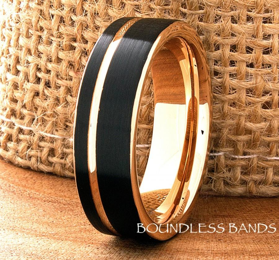 Свадьба - Tungsten Ring Black And Rose Gold Wedding Band Ring 7mm Mens Women's Wedding Band Anniversary Promise Engagement Comfort Fit Offset Grooved