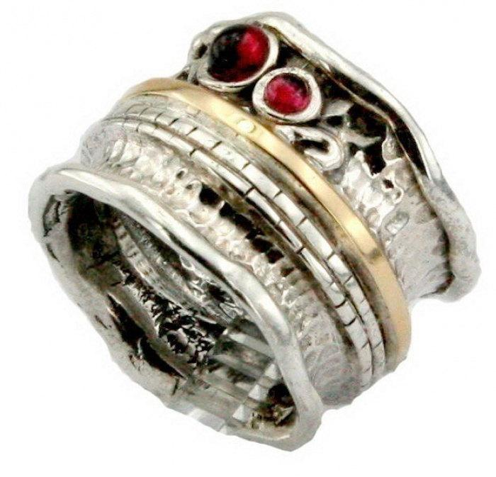 955ee3ae7 Garnet silver ring, Silver and gold, 925 Sterling Silver and 9K Yellow Gold  Garnet band, Red Garnet Ring, Wedding, Gift, size 8 (s r1306