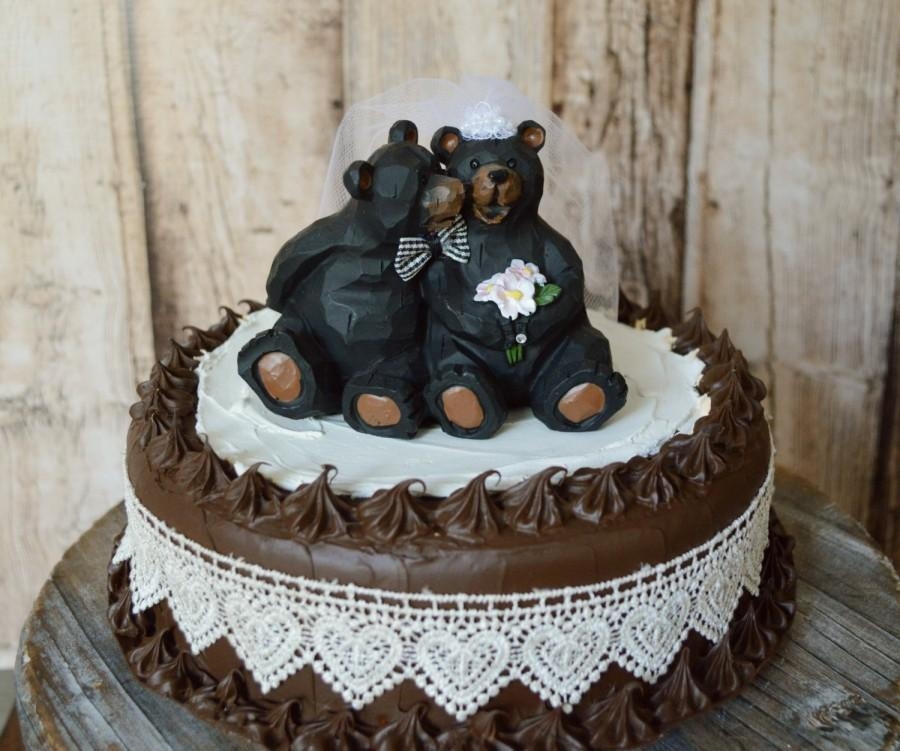Mariage - black bear wedding cake topper country weddings bride and groom bear hunting camping bear lover animal kissing rustic topper centerpiece