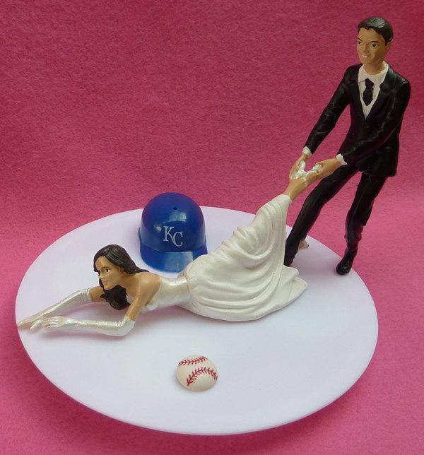 Hochzeit - Wedding Cake Topper Kansas City Royals KC G Baseball Themed w/ Bridal Garter Humorous Bride Groom Sports Fans Funny Ball Helmet Original Top