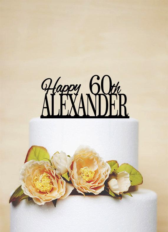 Wedding - 60th Birthday Cake Topper,Custom Cake Topper,Acrylic Cake Topper,Personalized Cake Topper-A006