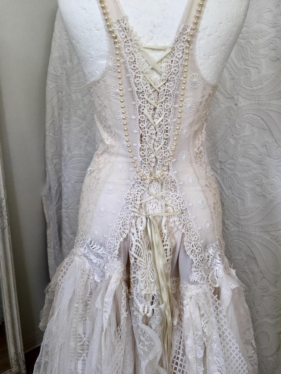 Mariage - Wedding dress open back with pearls ,unique Bridal gown,lace statement wedding dress,boho wedding dress pure white ,bridal gown unique ,