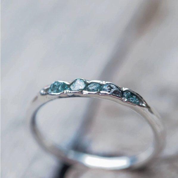 Wedding - Raw Blue Diamond Ring // Hidden Gems Stacking Band