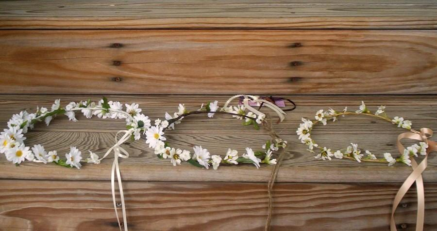زفاف - Bridal Hair Wreath party Floral Crown Woodland Fall Wedding Halo accessories -Molly-Daisy Hairpiece blessingway Hippie flower girl halo