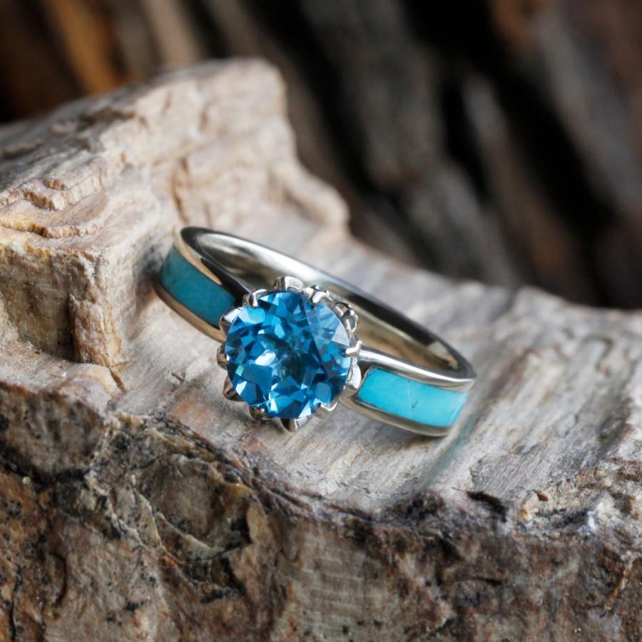 زفاف - Turquoise Engagement Ring with Swiss Blue Topaz Stone in 10k White Gold Ring, Lotus Flower Design with Forever Classic Moissanite Stones