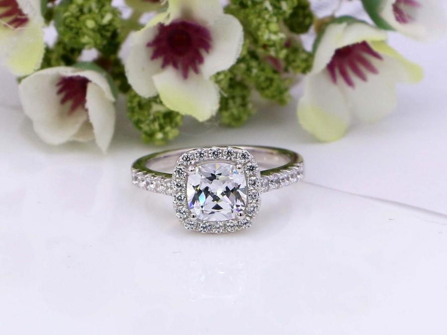زفاف - 2 Ct Cushion Cut Halo Engagement Ring - Sterling Silver Engagement Ring - Promise Ring - Cushion Cut Ring - Cubic Zirconia Ring