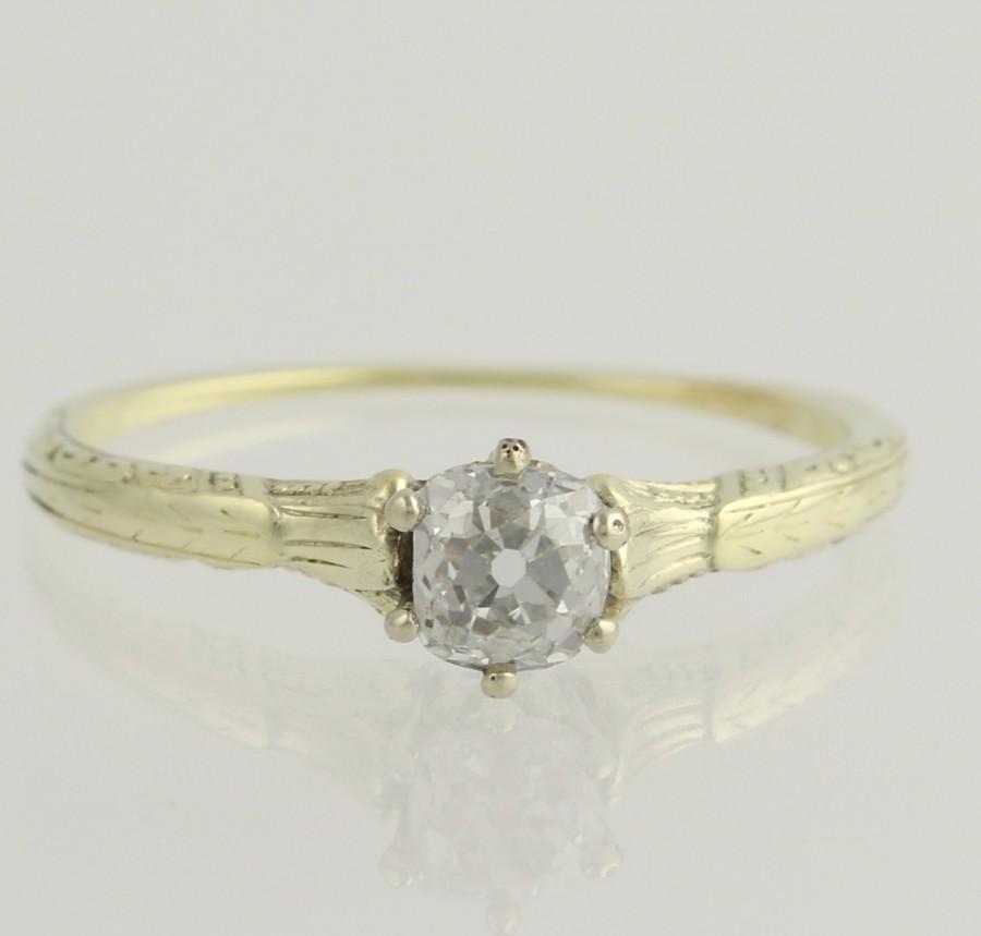 زفاف - Art Deco Engagement Ring Diamond Solitaire  - 14k Yellow Gold Vintage Natural .43ct Unique Engagement Ring L4077 R