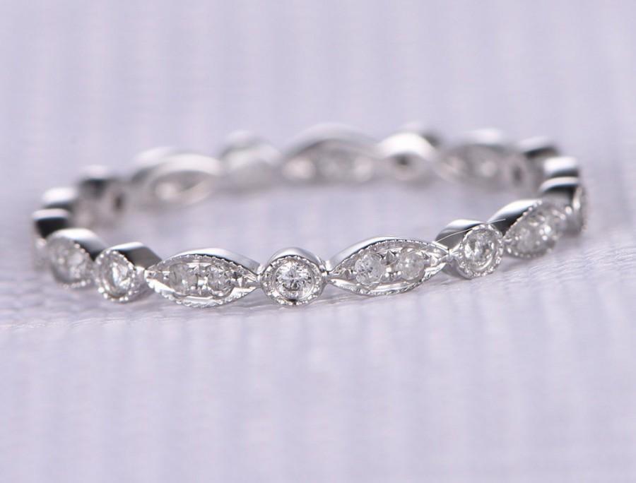 زفاف - Full Eternity diamond Wedding ring,Anniversary ring,14k White gold,Infinity Ring,Art Deco Antique,Matching Band,Black diamond available