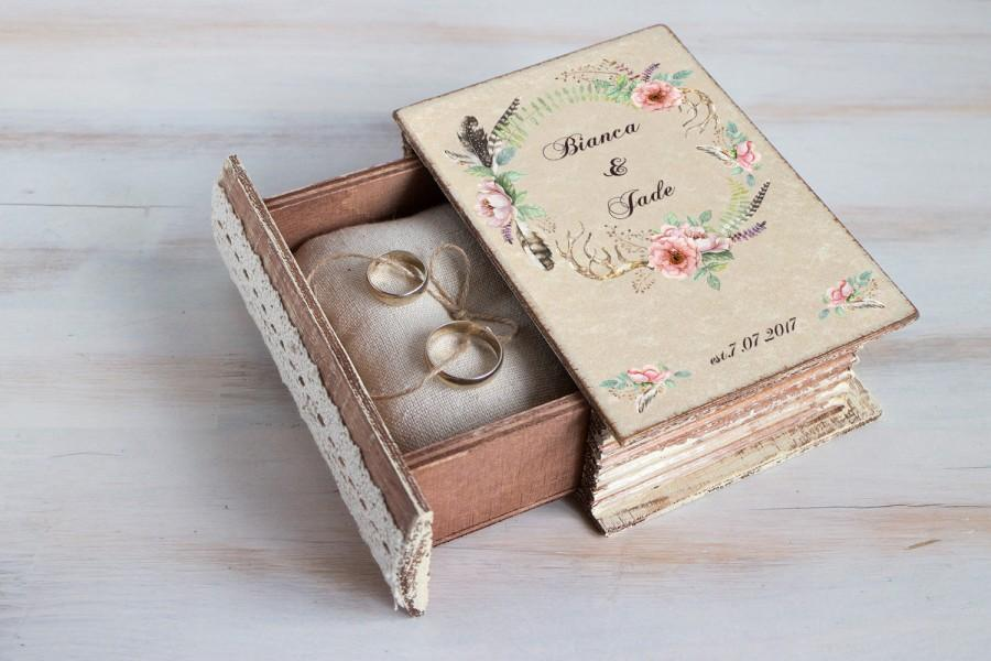 زفاف - Wedding ring box, Boho chic wedding box, Personalized ring box, Antlers ring bearer box, Floral ring box Ring bearer pillow Rustic woodland