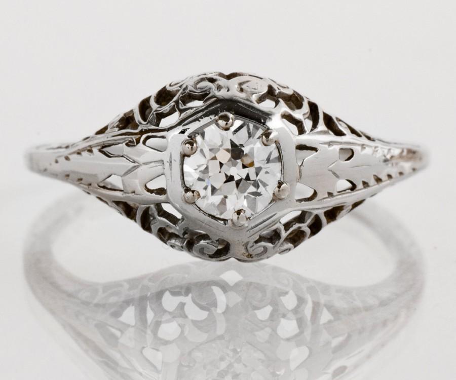 زفاف - Antique Engagement Ring - Antique Edwardian 18k White Gold Filigree Diamond Engagement Ring