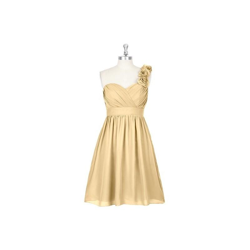 Wedding - Gold Azazie Alyssa - Strap Detail Sweetheart Chiffon Knee Length Dress - Cheap Gorgeous Bridesmaids Store